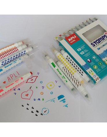 Flamastry ze stempelkami Apli Kids - 10 kolorów