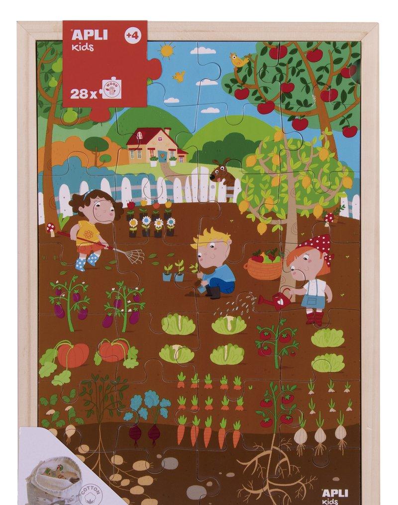 Drewniane puzzle w ramce Apli Kids - Ogród 4+
