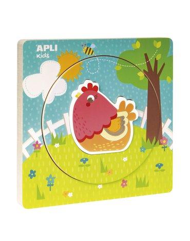 Drewniane puzzle z warstwami Apli Kids - Kurka 2+