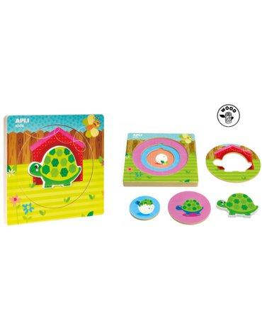 Drewniane puzzle z warstwami Apli Kids - Żółw 2+