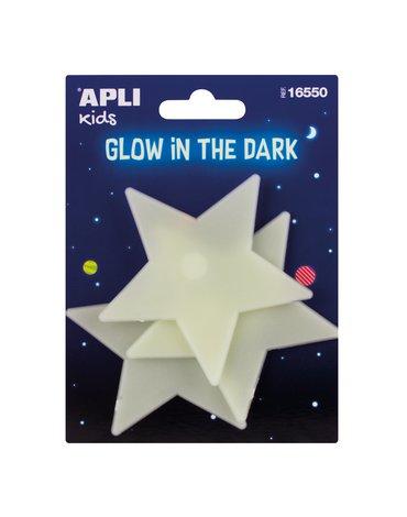 Fluorescencyjne naklejki Apli Kids - Duże Gwiazdki 3 sztuki