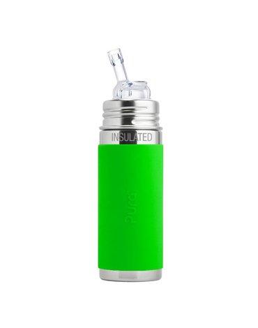 Termobutelka ze słomką i zieloną osłonką 260 ml, Pura Kiki