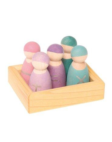 Drewniane figurki 5 szt., Przyjaciele 1+, pastelowe, Grimm's
