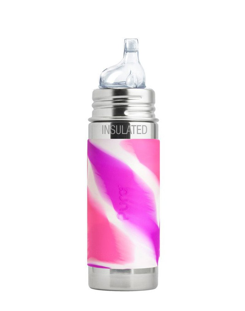 Termobutelka z ustnikiem niekapkiem 260 ml, różowa swirl, Pura Kiki