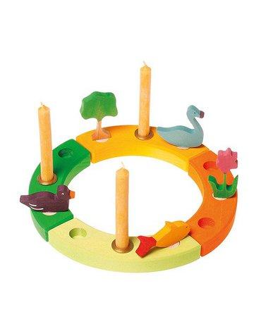 Grimm's - Drewniany Pierścień Urodzinowy, zielono-pomarańczowy, Grimm's