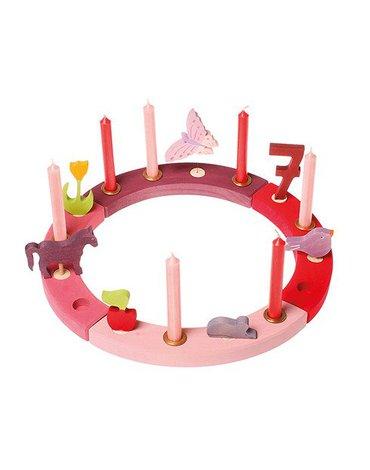 Grimm's - Drewniany Pierścień Urodzinowy, czerwono-różowy, Grimm's