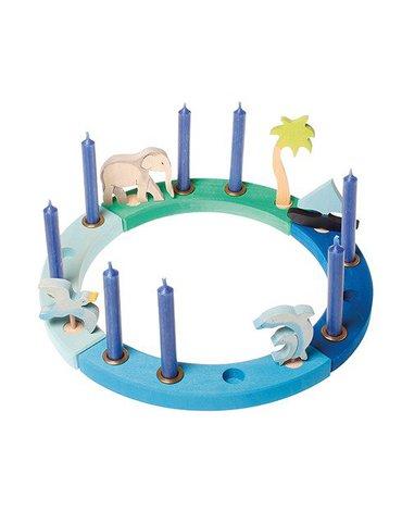 Grimm's - Drewniany Pierścień Urodzinowy, niebiesko-zielony, Grimm's