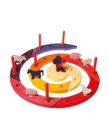 Drewniany Pierścień Urodzinowy, czerwony, Grimm's