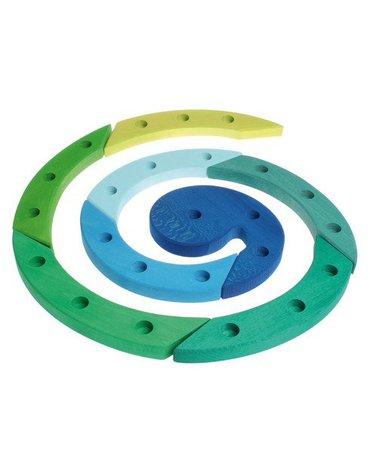 Drewniany Pierścień Urodzinowy, niebiesko-zielony, Grimm's