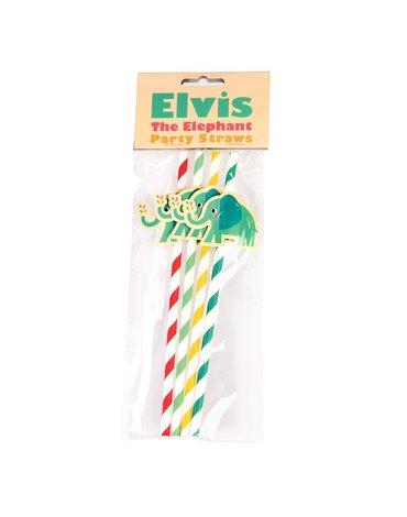 Słomki papierowe Słoń Elvis, 4 szt., Rex London