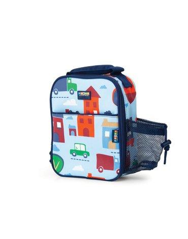 Penny Scallan Design - Lunchbox na drugie śniadanie z kieszenią na napój, Autka, niebieski, Penny Scallan