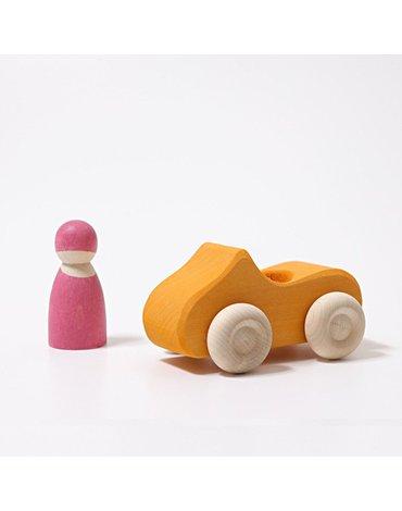 Drewniane Autko, Mały Kabriolet, żółty, Grimm's