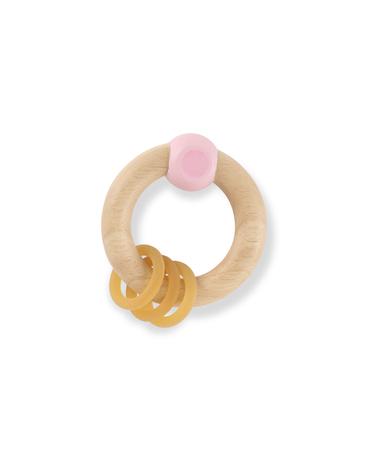 Grzechotka z drewna kauczukowego, Różowa, HEVEA