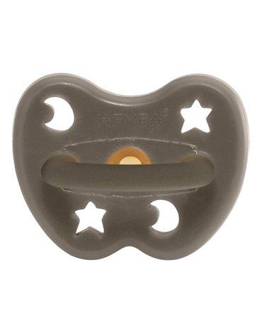 Anatomiczny smoczek kauczukowy, 3-36 msc, Księżyc/Gwiazdki Shiitake Grey, HEVEA