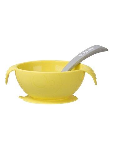 b.box Silikonowa miseczka z przyssawką i łyżeczką, Lemon Sherbet