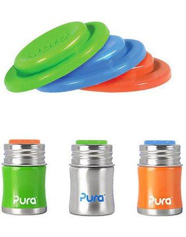 Dyski wymienne do butelek 3 szt., niebieski/zielony/pomarańczowy, Pura