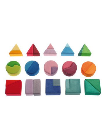 Klocki, Trójkąty, Koła i Kwadraty 1+, kolorowe, Grimm's