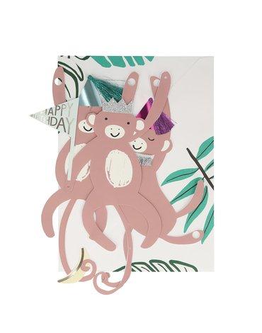 Meri Meri - Kartka okolicznościowa 3D Małpy girlanda