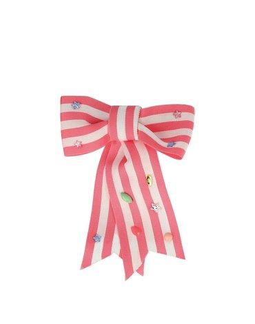 Meri Meri - Spinka do włosów Kokarda paski różowe