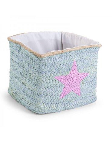 CHILDHOME - Pudełko plecione 30x33x33 star&cloud mięta