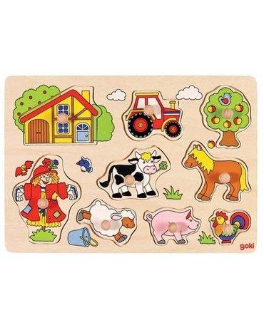 Goki® - Drewniana układanka z uchwytami, puzzle – motyw Farma, Goki 57995