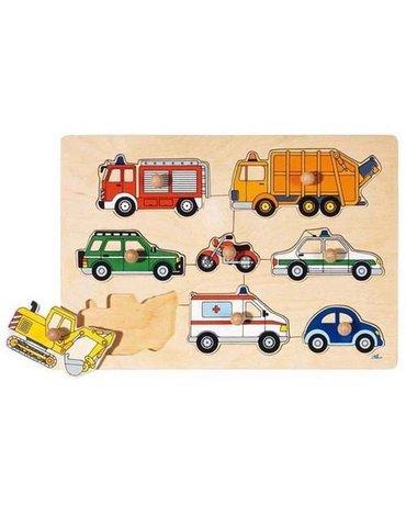 Goki® - Drewniana układanka, motyw Pojazdy, Goki 57996