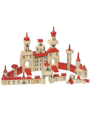 Goki® - Zamek z klocków, drewniany zestaw, 150 części, Goki WB 505