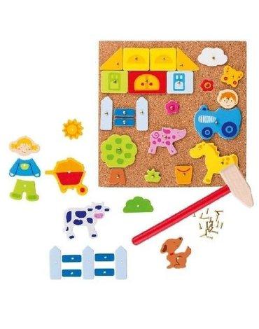 Goki® - Przybijanka farma, zabawa z figurami, Goki 58555