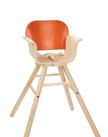 Plan Toys - Drewniane krzesełko do karmienia, kolor pomarańcz