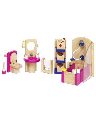Goki® - Różowa łazienka - mebelki do domku dla lalek, GOKI-51748