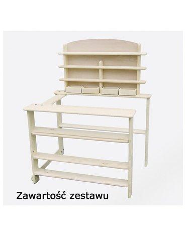 Goki® - Drewniane stoisko sklepowe z półkami - zabawa w Sklep, Goki RA201