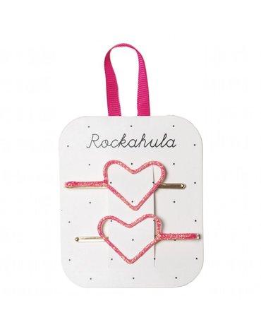 Rockahula Kids - wsuwki do włosów Glitter Heart Neon Pink