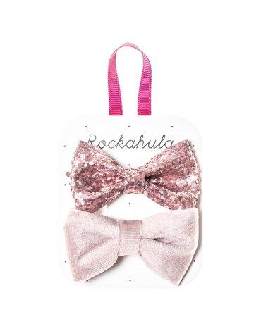 Rockahula Kids - spinki do włosów Velvet and Glitter Dusky Pink