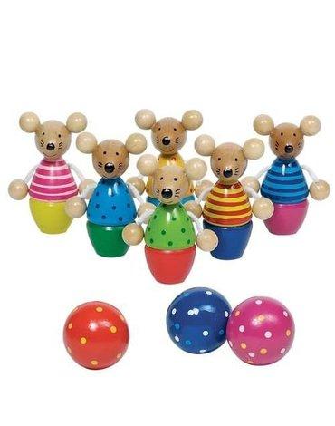 Goki® - Myszki, drewniane kręgle z postaciami zwierzątek, Goki 56943