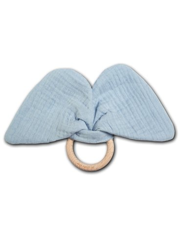 Hi Little One - szeleszczący gryzak Elephant muslin with wood teether Baby Blue