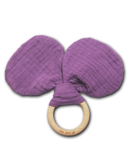 Hi Little One - szeleszczący gryzak Mouse muslin with wood teether Lavender