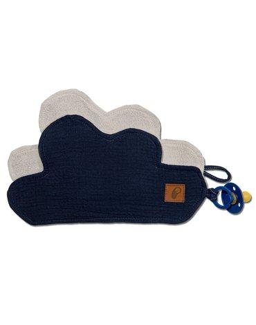 Hi Little One - Przytulanka muślinowa dou dou z zawieszką na smoczek cozy muslin pacifier clip Cloud Navy