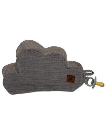Hi Little One - Przytulanka muślinowa dou dou z zawieszką na smoczek cozy muslin pacifier clip Cloud Grey