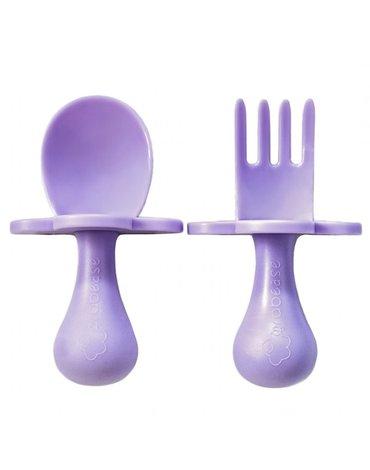 Grabease - Intuicyjne Pierwsze Sztućce - łyżeczka i wiedelczyk Lavender