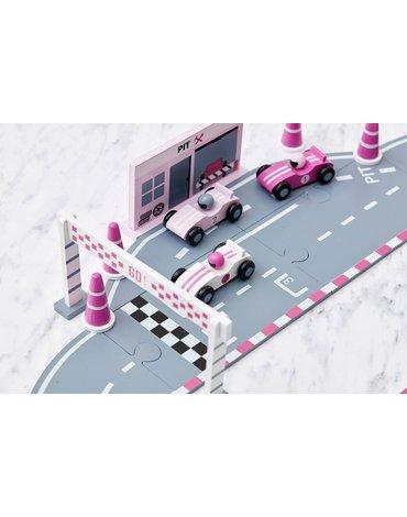 Kids Concept Drewniany Tor Wyścigowy Pink
