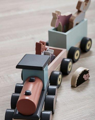 Kids Concept Edvin Pociąg Drewniany Animal