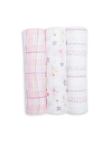 Lulujo Kocyk Muślinowy Pink Floral 3 szt